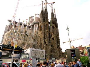 My view of Sagrada Familia emerging from the metro