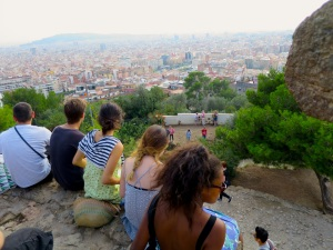 View of Barcelona and some hungover youths at Park Güell