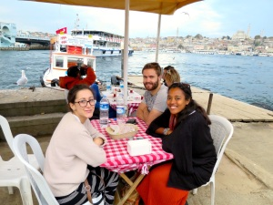 Fish sandwich with Jenny, Richard and Ana