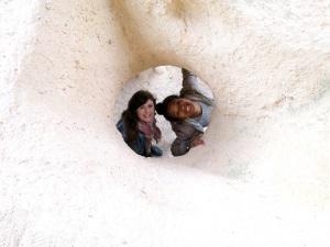 Climbing ruins and jumping down holes at Uchisar
